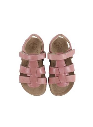 Kids A More Holley Tek Cırtlı Deri Kız Çocuk Sandalet  Pudra